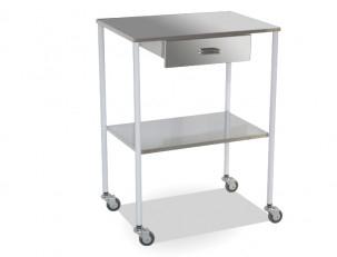 Mesa auxiliar branca uma gaveta dois lisos inoxid veis - Mesa auxiliar estetica ...